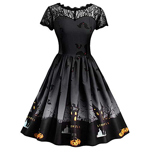 Halloween Kostüm Damen kürbis Retro A-Linie Elegant Lange Ärmel Kürbis Printed Kleider Halloween Kostüm Cocktailkleid Party Kleid Damen Ärmellose Abend Party Prom Swing Dress (Schwarz, XL)