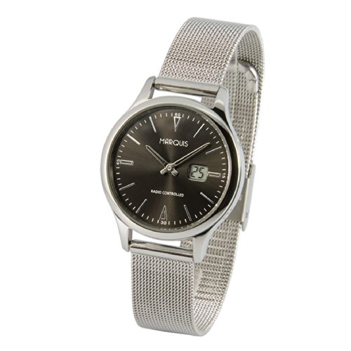 Elegante MARQUIS Damen Funkuhr (Junghans-Uhrwerk) Milanaise Armband, Gehäuse aus Edelstahl 964.4101