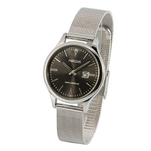 Elegante Damen Funkuhr (Junghans-Uhrwerk) Milanaise Armband, Edelstahlgehäuse 964.5101