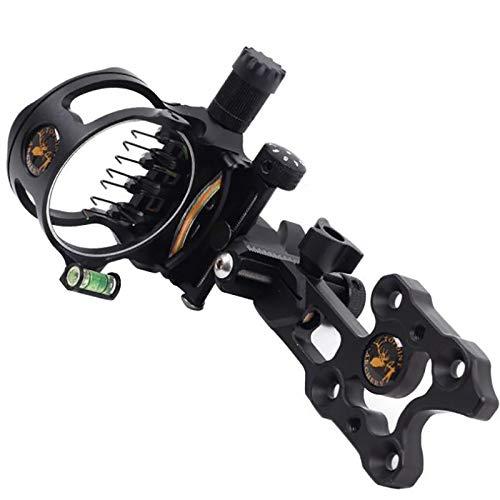 ACEXIER 7 Pins Compound Bow Sight 0.019 Optical Fiber Retinal Sight 16cm CNC Aluminum Horizontal Vertical Adjustment Bow Sight Shooting