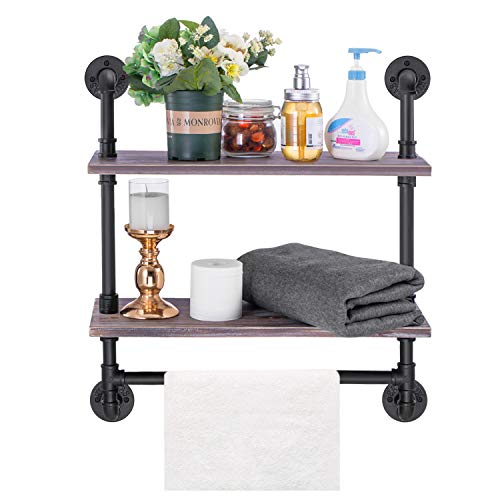 Industrial Pipe Shelf Elibbren Rustic Wall Mounted Shelving with Towel Bar Rack for Bathroom 2-Layer Wood Bookshelf Pipe Shelving for KitchenWooden Board contained