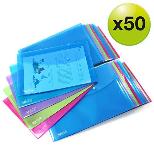 Rapesco 1495 Dokumentenmappe mti Druckknopf A4 (Verschiedene Farben) Dokumententasche 50 Stück