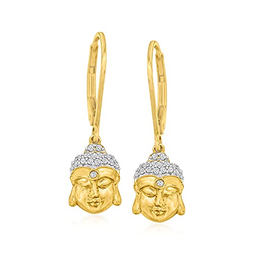 Ross-Simons 0.10 ct. t.w. Diamond Buddha Drop Earrings in 18kt Gold Over Sterling