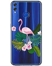 Oihxse Case Transparente Suave TPU Compatible con Huawei Honor 8X MAX Funda [Lindo Caricatura Flor Serie Dibujos] Cristal Protector Carcasa Anti Rasguños Bumper Cover-Flamenco