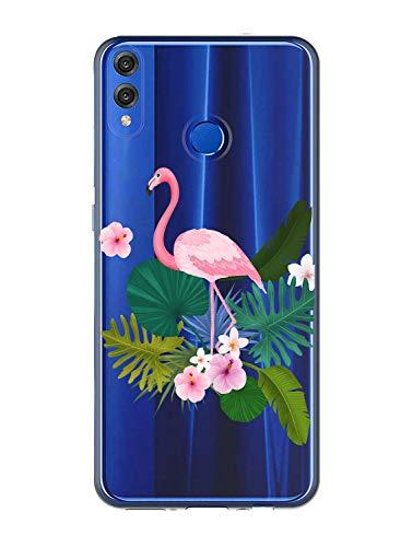 Oihxse Case Transparente Suave TPU Compatible con Huawei Nova 5T/Honor 20 Funda [Lindo Caricatura Flor Serie Dibujos] Cristal Protector Carcasa Anti Rasguños Bumper Cover-Flamenco
