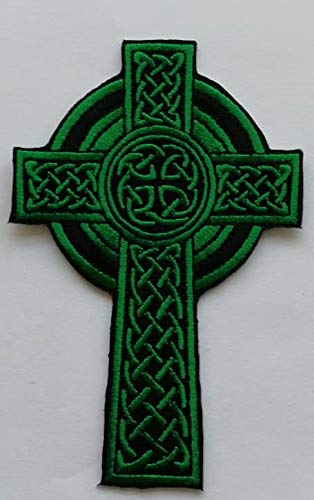 Memo Embroidered Patch - Sewn or Iron-On Fashion Applique for Vests, Jackets, Bags, Pants, Hats & Backpacks - Edgy Embroidery for Crafts - DIY Repair Cover with Celtic Cross Design - 3.8x2.5 Inches