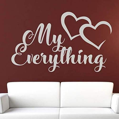 My Everything Love Hearts Message Vinyl Removable Wall Stickers Para Living Room Sweet Home Mural Art Decals Dormitorio Poster 95 * 57Cm