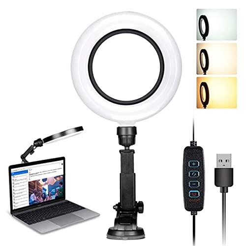 Abodos Lampada da 6 Pollici da 16 cm, Luce dell'anello di Ventosa a LED, Luce del Computer di riempimento della videoconferenza