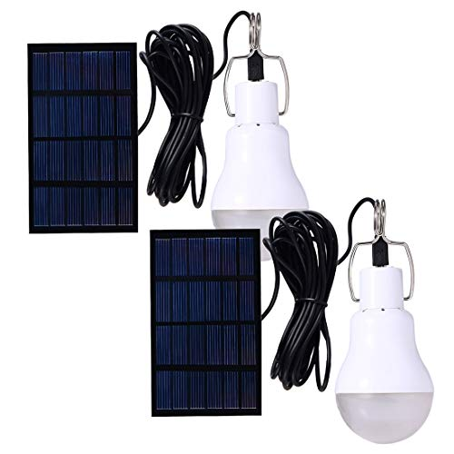 Solar Powered Lamp Portable Led Bulb Lights Solar Energy Panel Led Lighting for Camp Tent Night Fishing Emergency Lights Flash 130LM (Pack of 2)