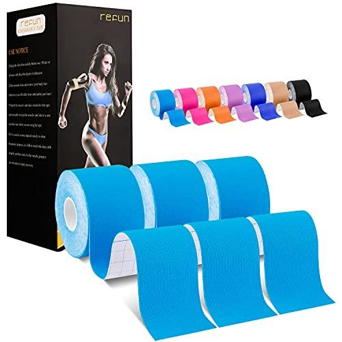 REFUN Kinesiologie Tape, (6m*5cm) Kinesiotapes Ungeschnittene Rolle, herapeutische wasserfestes Kinesio Tapes für den Sport, für Knie, Schulter und Ellenbogen, Muskelstraffende Bänder