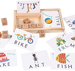 SMART_FUTURE Montessori Wooden Spelling Reading Words Toy Game Set Educational Early Learning Alphabet Matching Flash Card...