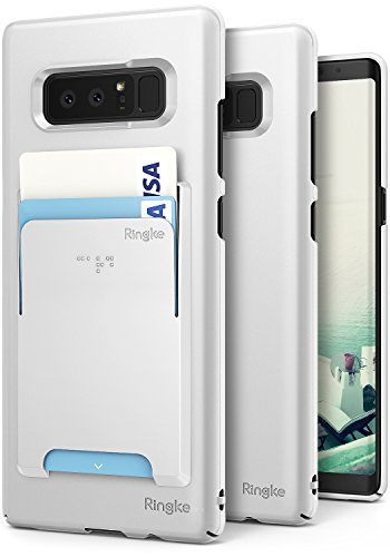 Ringke Slim Case Compatible with Galaxy Note 8, [Advanced Accessory Kit] Superior Slender [Attachable Wallet Card Slot] Precise Contour Lightweight & Fashionable Cover Galaxy Note8 - White