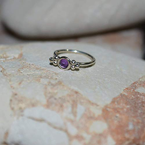 2mm Amethyst Nose Ring - Silver Nose Ring Stud - 20 Gauge Cartilage Earring - Forward Helix Earring - Rook Piercing - Tragus Earring