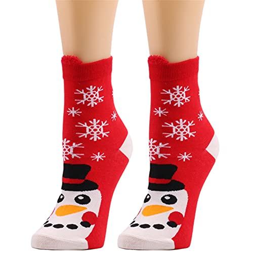 JDGY Chaussettes de Noël pour femme - 35-38 - Cute bonhomme de neige - Chaussettes thermiques respirantes - Chaussettes de sport en peluche - Chaussettes courtes, d, taille unique