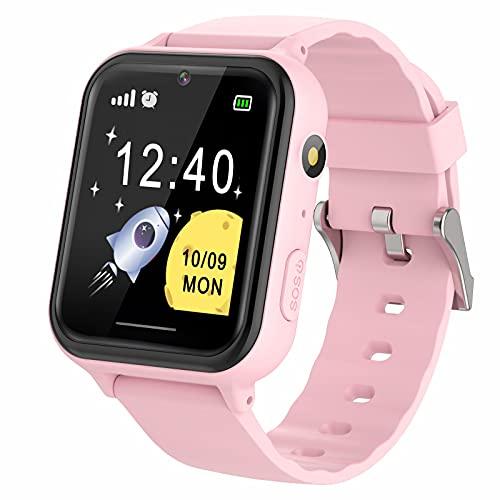 Smartwatch Kinder - Touchscreen Smartwatches Telefon mit Musik Spiel Video Kamera Schrittzähler Taschenlampen Wecker, Kinder Geschenke Geburtstag für Jungen und Mädchen (Rosa)