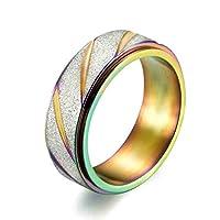 Ianlex ステンレス製 回転 研磨 リング 8mm 虹 メンズ 指輪 パンクリング リングサイズ:26