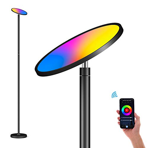 Stehlampe Smart 35W LED Deckenfluter Dimmbar Stehleuchte zum im Wohnzimmer Schlafzimmer Büro, Berührungssteuerung & APP-Steuerung, RGBCW, 2700K-6500K, Kompatibel mit Alexa und Google Home, Schwarz