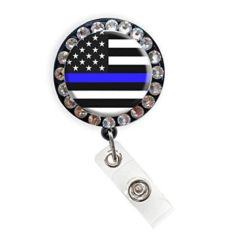 Thin Blue Line Nurse Badge Reel Retractable ID Badge Holder (Thin Blue Line Flag Rhinestone Badge)
