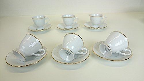 Set 06 tazze caffe' filo oro 24 carati