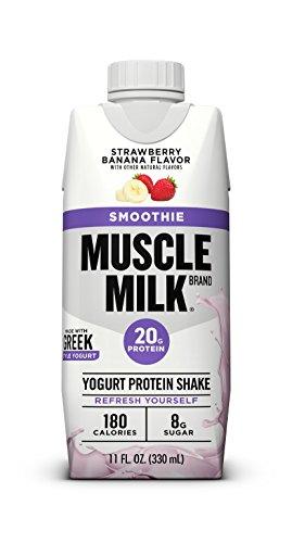 Muscle Milk Smoothie Protein Yogurt Shake, Strawberry Banana, 20g Protein, 11 FL OZ, 12 Count