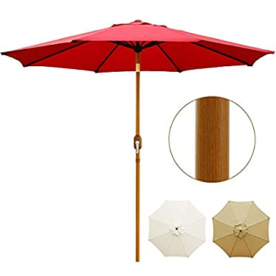 Blissun 9' Patio Umbrella Outdoor Market Table Umbrella with Push Button Tilt and Crank, Wooden Sticker Aluminum Pole, 8 Ribs (Tan)