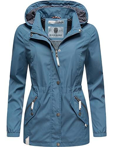 Marikoo Damen Übergangsjacke Outdoorjacke mit Kapuze Dein Kussmäulchen Blau Gr. XS