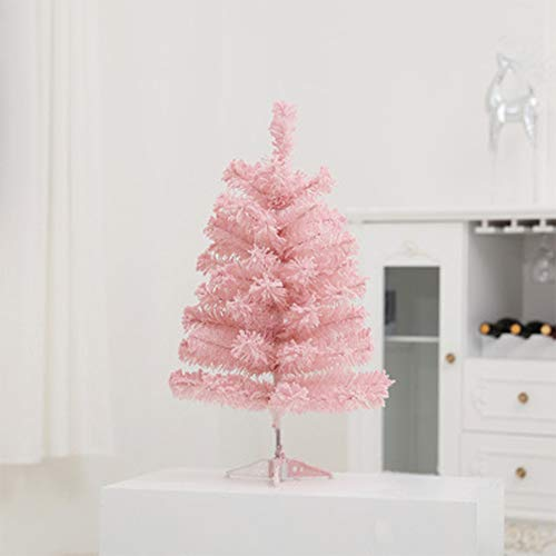 woyaochudan Classic Artificial Realistic Natural Branches Pine Christmas Tree Pink-Unlit 2FT, 3FT, 4FT,5FT (Pink, 5ft with Metal Stand)