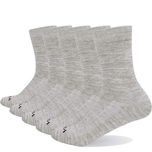 YUEDGE 5 Paar Damensocken Sportsocken Licht Atmungsaktiv Baumwolle Crew Schwarz Socken für Damen Frauen 35-39, hellgrau, WL