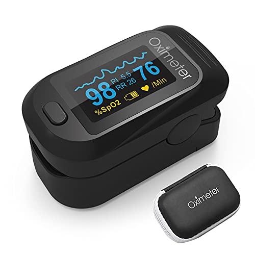 Monitor de frecuencia cardíaca y medidor de SpO2 con saturación de oxígeno en sangre precisa y función de monitoreo de frecuencia respiratoria con caja de almacenamiento de forma de onda de pulso