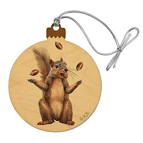 GRAPHICS & MORE Squirrel Juggling His Nuts Crazy Funny Wood Christmas Tree Holiday Ornament