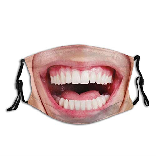 Prientomer Funny Open Mouth Teeth Laughing Smile Face Mask Washable Anti Dust Face/Mouth Cover For Man Women Balaclava With 2 Pcs Filters