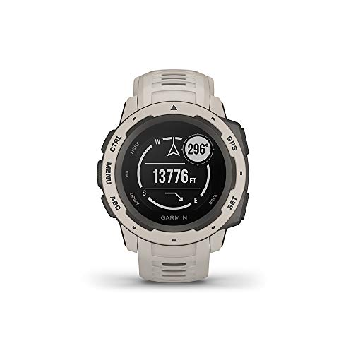 "Garmin Instinct, Rugged Outdoor Watch with GPS, Features GLONASS and Galileo, Heart Rate Monitoring and 3-Axis Compass, Tundra, 1.27"" (010-02064-01)"