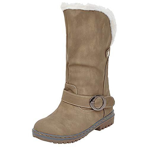 Botas De Invierno Para Mujer Botas Para La Nieve Cálidas Botas De Gamuza Zapatos Hebilla