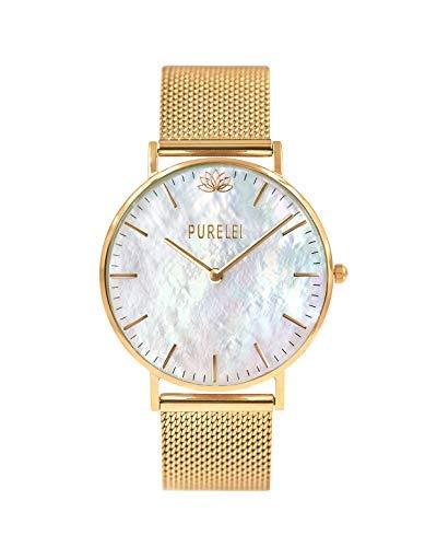 PURELEI ® Damen Armbanduhr (Edelstahl & Gold) individuell Größenverstellbar (Handgefertigt) (OneSize, Gold-Mesh)