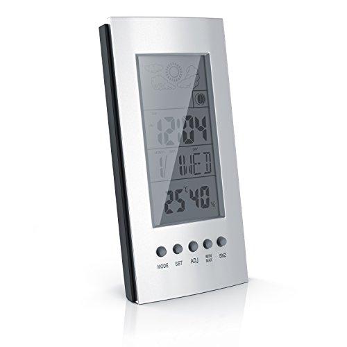 CSL - digitaler Wecker mit Temperaturanzeige - Wetterstation batteriebetriebener - Snooze Funktion - Uhrzeit Datum Mondphasen Hygrometer Innentemperatur
