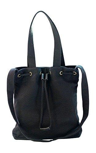Kronya® | Elegante bolsa de tela | Embrague Bolso de mujer Bolso de mano mochila de compras bandolera (Negro)
