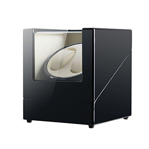 CO-Z Caja de Relojes Automáticos con Motor Silencioso Caja Giratoria para 2 Relojes Automáticos Cajas de Almacenamiento para Relojes Mecánicos (Negro)
