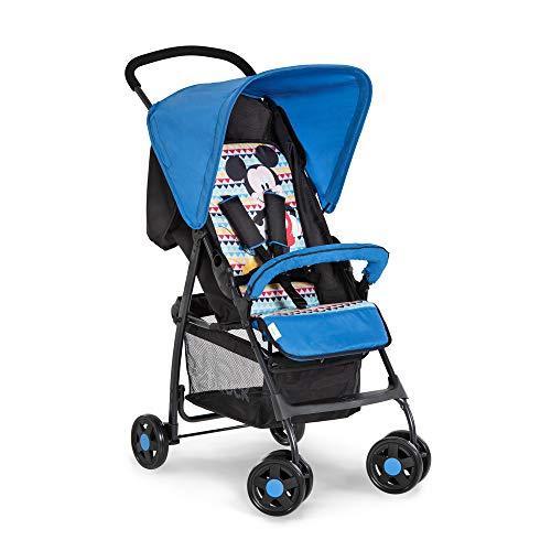 Hauck Sport Leichter Buggy bis 18 kg mit Liegefunktion ab Geburt, klein klappbar, Sonnenverdeck, großer Korb, mickey geo blau