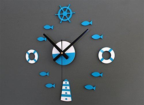 feiren DIY relojes de pared grandes de diseño moderno adhesivo de pared para decoración de habitación de los niños, relojes marineros de pared, boya salvavidas azul mar barco pescado (color: a