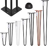 HOLZBRINK Haarnadel Tischbein 12 mm, 3-Stange Bein, Hairpin Leg aus Stahl, 50 cm, Tiefschwarz, 1 Stück, HLT-13A-50-9005