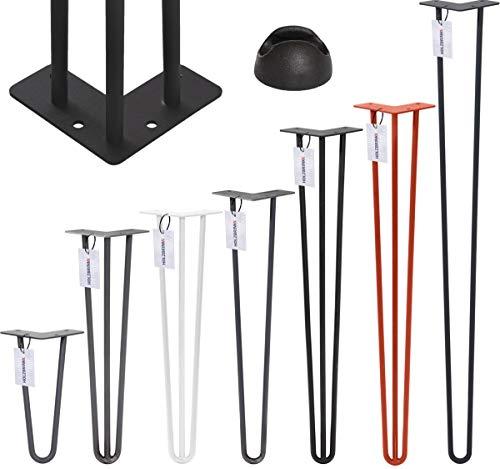 HOLZBRINK Tafelpoot van drie 12 mm stangen, stalen poot type Hairpin, 60 cm, Berg wit, 1 stuk, HLT-13A-60-9016