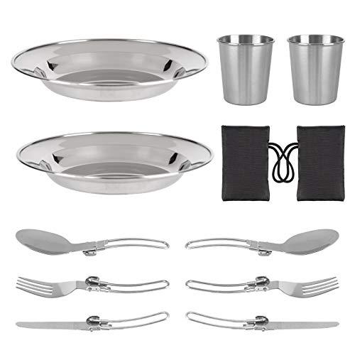 OUTHIKER Aluminium Kochgeschirr Set Küchengerät 12 teiliges Wasserbecher Antihaft Hitzebeständiger Teller Geschirr Kochset Campingtöpfe Kit