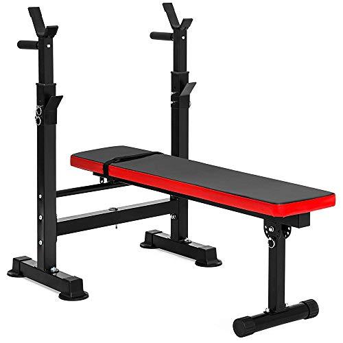 WXH Support pour Poids et Barres Ajustable Multifonctions pour Fitness, Banc Standard, Rangement Pratique Pliable, pour la Gymnastique à la Maison, Musculation