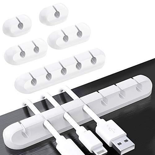 6 Stück Kabelhalter Kabelclips, Kabel Kabelmanagement Selbstklebender Halter für USB-Ladekabel/Netzkabel/TV-Kabel/Mauskabel PC Office Home - Weiß