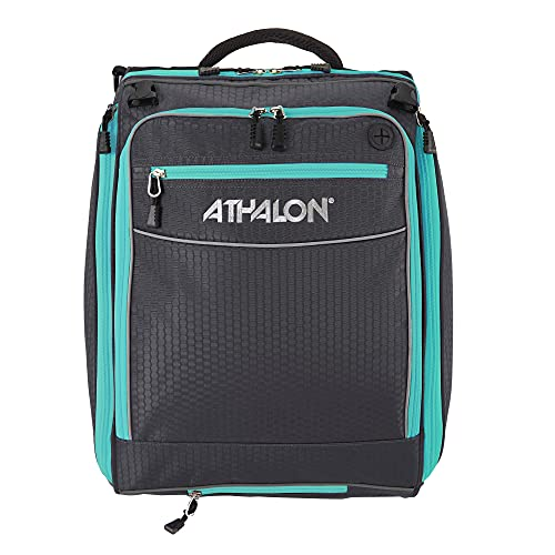 Athalon Unisex-Erwachsene Onboard Convertible Boot Bag/Backpack Skischuhtasche, Graphit/Blaugrün, Large