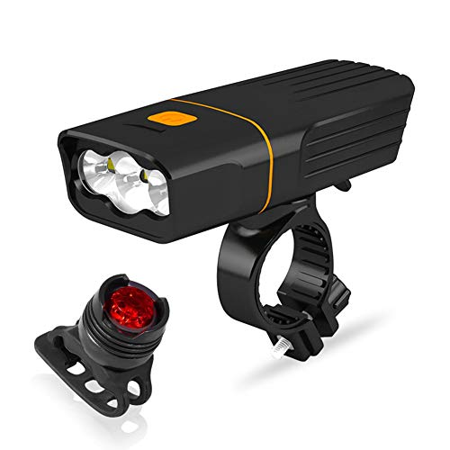 Gowind6 - Juego de luces de bicicleta para bicicleta (2 unidades, impermeable, 1000 lm, T6, luz trasera LED, 1000 lm, luz trasera