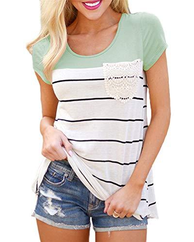 Flying Rabbit Damen Shirt Sommer Kurzarm Farbblock Streifen Tops Rundhals Bluse, Stil1-grün, XL