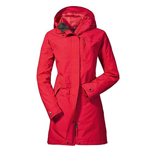 Schöffel Damen Parka Malmö1 wasserdichte Regenjacke für Frauen mit praktischen Taschen, modische und leichte Jacke für Frühling und Sommer, Lollipop, 42