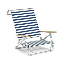 cheap Telescopic casual original mini sun lounger Folding beach chair, blue / white stripes – (74113601)