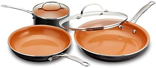 Gotham Steel 1435 5 Piece Kitchen Essentials Cookware Set with Ultra Nonstick Copper Surface Dishwasher Safe, Cool Touch Handles- Includes Fry Pans, Stock Pot, and Glass Lids, Original